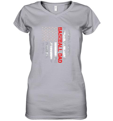 ptfp vintage usa american flag proud baseball dad player women v neck t shirt 39 front sport grey