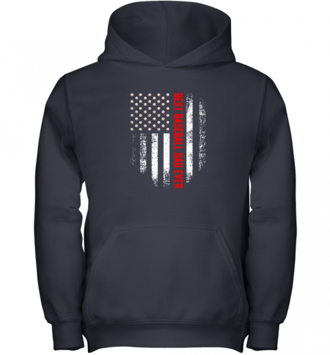 cque vintage usa best baseball dad ever american flag daddy gift youth hoodie 43 front navy