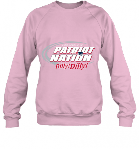 16rs a true friend of the new england patriots dilly dilly sweatshirt 35 front light pink
