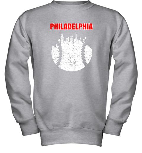 l46p vintage philadelphia cityscape baseball retro youth sweatshirt 47 front sport grey