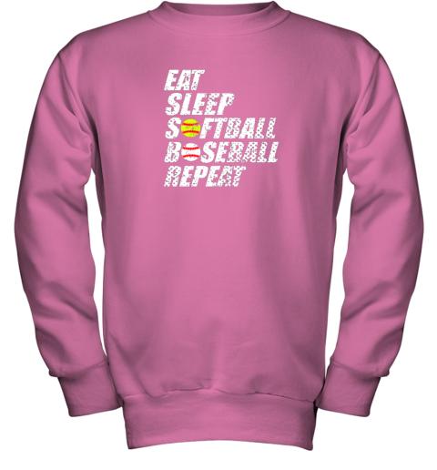ypmz softball baseball repeat shirt cool cute gift ball mom dad youth sweatshirt 47 front safety pink