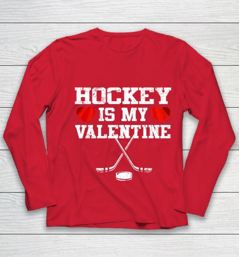 Hockey Is My Valentine Youth Long Sleeve 8