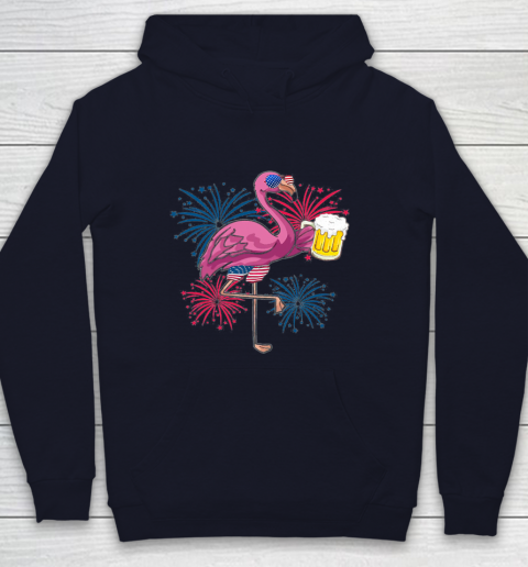 Beer Lover Funny Shirt Flamingo Cheer Beer American Flag Fireworks Independence Day Youth Hoodie 2