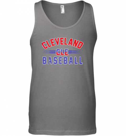 ndpp cleveland cle baseball unisex tank 17 front graphite heather