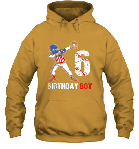 j82m kids 6 years old 6th birthday baseball dabbing shirt gift party hoodie 23 front gold