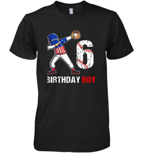 Kids 6 Years Old 6th Birthday Baseball Dabbing Shirt Gift Party Premium Men's T-Shirt