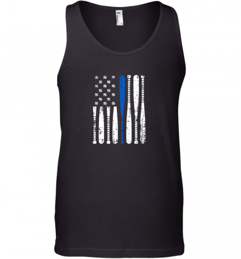 mdnr thin blue line leo usa flag police support baseball bat unisex tank 17 front black