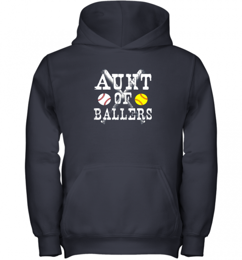 yyra vintage aunt of ballers shirt funny baseball softball love youth hoodie 43 front navy