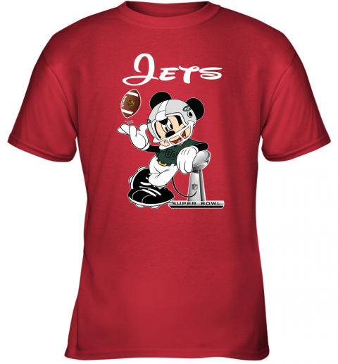 0x70 mickey jets taking the super bowl trophy football youth t shirt 26 front red