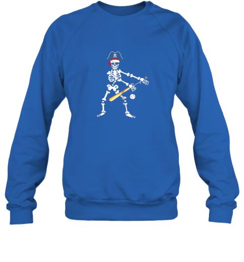 y4tm skeleton pirate floss dance with baseball shirt halloween sweatshirt 35 front royal