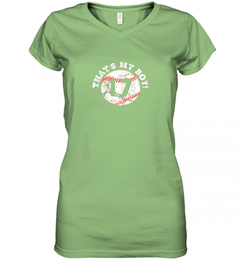 9zi9 that39 s my boy 17 baseball player mom or dad gift women v neck t shirt 39 front lime