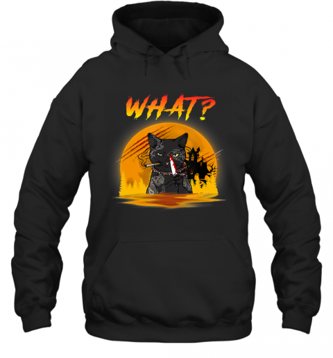 What Cat Murder with Knife Horror Cat Moon Halloween gift Hoodie