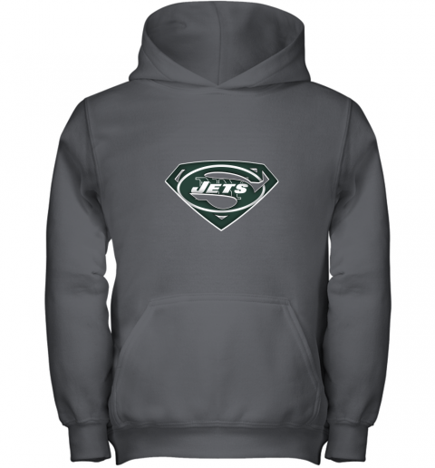9ztr we are undefeatable the new york jets x superman nfl youth hoodie 43 front charcoal