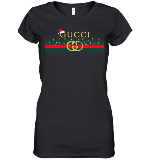 Gucci Logo_Vintage Christmas Light Gift Womens V-Neck T-Shirt