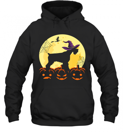 Cute Halloween Schnauzer Dogs Witch Pumpkin Gifts For Family Hoodie