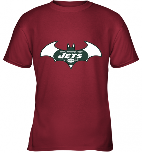 yafx we are the new york jets batman nfl mashup youth t shirt 26 front cardinal