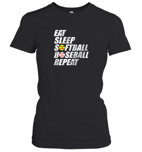 Softball Baseball Repeat Shirt Cool Cute Gift Ball Mom Dad Women's T-Shirt