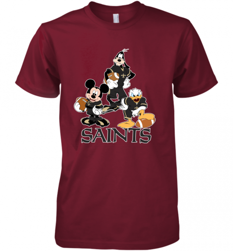 ttjz mickey donald goofy the three new orleans saints football premium guys tee 5 front cardinal