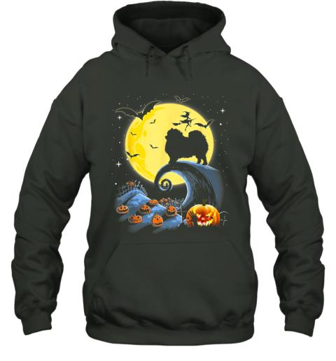 Pomeranian Dog And Moon Funny Halloween Costume Gift Hoodie
