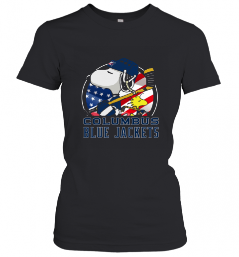 Columbus Blue Jackets  Snoopy And Woodstock NHL Women's T-Shirt