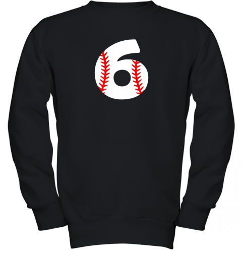Sixth Birthday 6th BASEBALL Shirt  Number 6 Born in 2013 Youth Sweatshirt