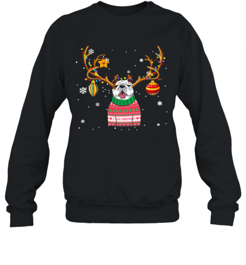 Bulldog Reindeer Christmas Holiday Funny T Shirt Sweatshirt