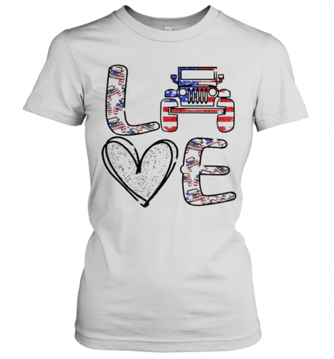 Love Jeep America Flag Women's T-Shirt