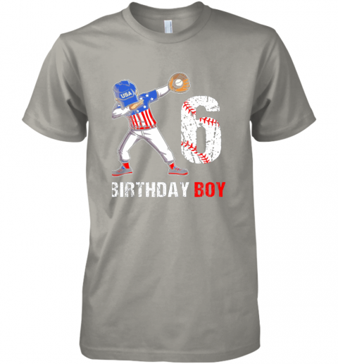 y2qy kids 6 years old 6th birthday baseball dabbing shirt gift party premium guys tee 5 front light grey