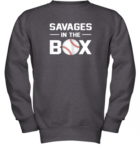 ycpr savages in the box shirt baseball gift youth sweatshirt 47 front dark heather