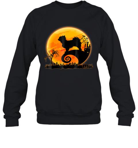 Long Coat Chihuahua Dog And Moon Funny Halloween Sweatshirt