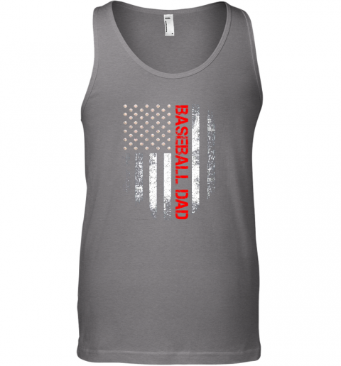 dmqe vintage usa american flag proud baseball dad player unisex tank 17 front graphite heather