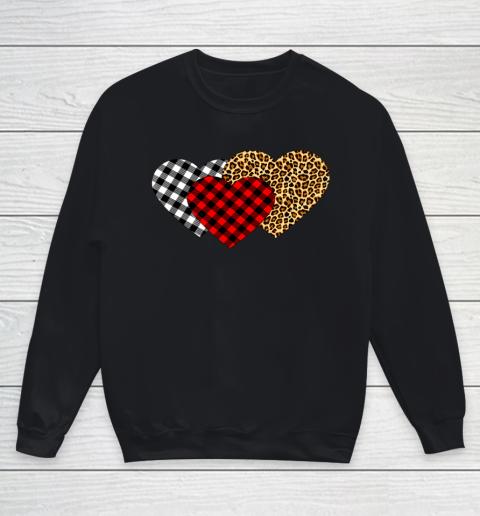 Leopard Heart Buffalo Plaid Heart Valentine Day Youth Sweatshirt