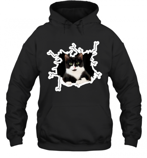 Tuxedo Cat Crack Hole Tuxedo Cat Ripper Torn Halloween gift Hoodie