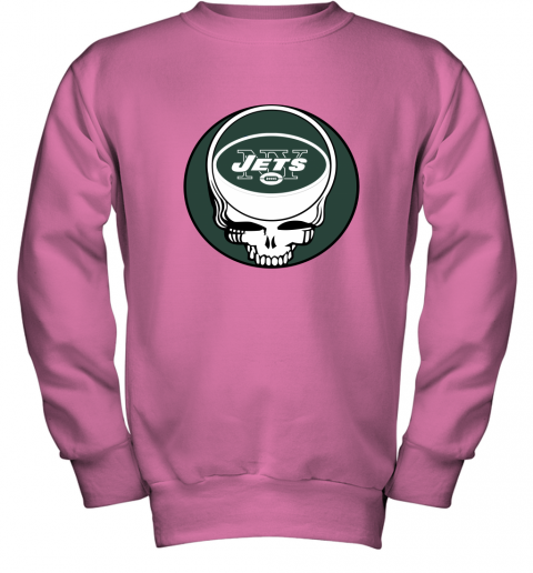 vato nfl team new york jets x grateful dead logo band youth sweatshirt 47 front safety pink