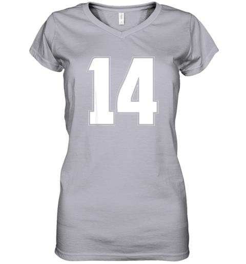 56jl halloween group costume 14 sport jersey number 14 14th bday women v neck t shirt 39 front sport grey