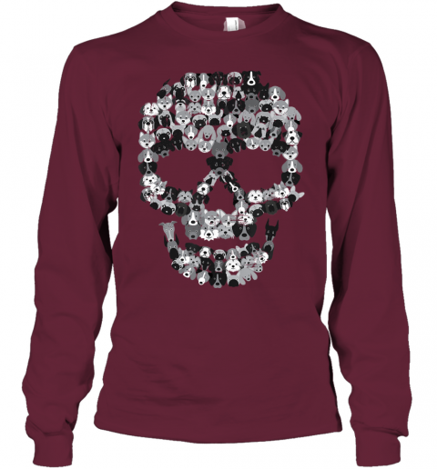 Dog Skull - Creepy Puppy Skeleton - Halloween Party Outfit Youth Long Sleeve