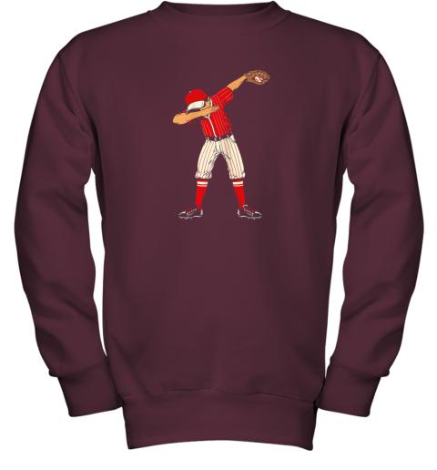 pray dabbing baseball catcher gift shirt kids men boys bzr youth sweatshirt 47 front maroon