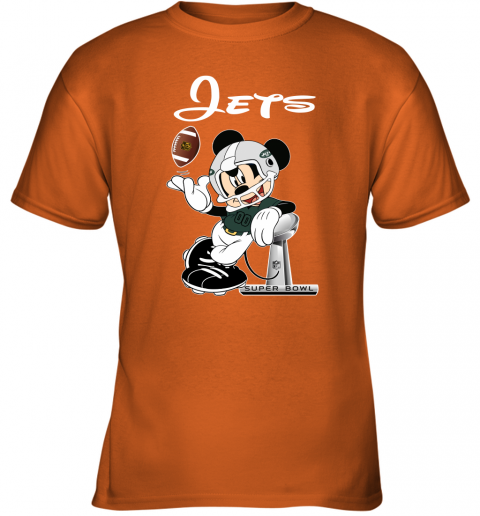 0x70 mickey jets taking the super bowl trophy football youth t shirt 26 front safety orange