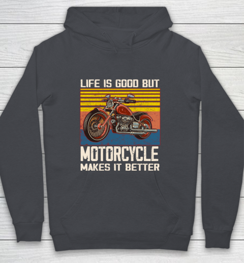Life is good but motorcycle makes it better Youth Hoodie 5