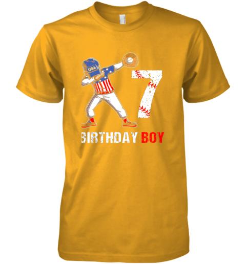 payk kids 7 years old 7th birthday baseball dabbing shirt gift party premium guys tee 5 front gold