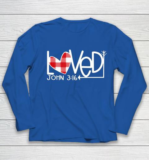 John 3 16 Loved Valentine Heart Youth Long Sleeve 7