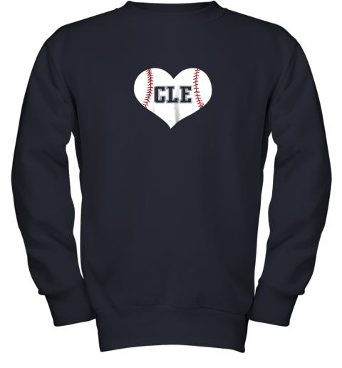 9iz4 cleveland ohio baseball love heart cle gift jersey fan youth sweatshirt 47 front navy