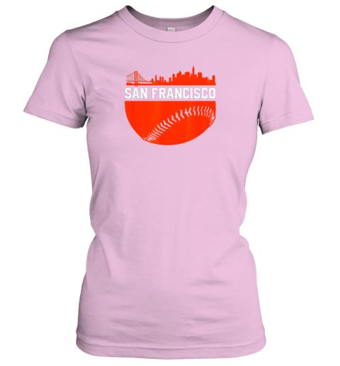 oplv san francisco baseball vintage sf the city skyline gift ladies t shirt 20 front light pink