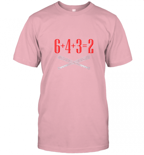 1jlk funny baseball math 6 plus 4 plus 3 equals 2 double play jersey t shirt 60 front pink