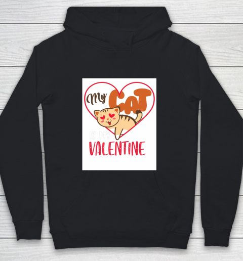 Cute My Cat Is My Valentine Cat Lover Valentines Day Gift Youth Hoodie