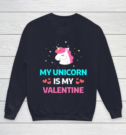 Funny Valentines Day Shirt Unicorn Is My Valentine Youth Sweatshirt 2