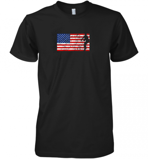 Baseball Pitcher Shirt, American Flag, 4th of July, USA, Premium Men's T-Shirt