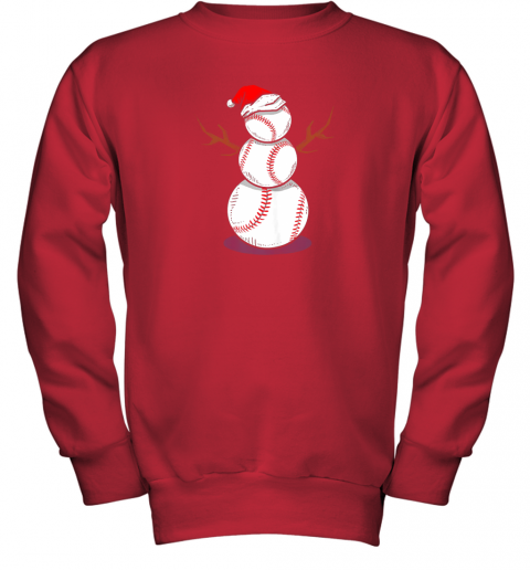 zk4w christmas in july summer baseball snowman party shirt gift youth sweatshirt 47 front red