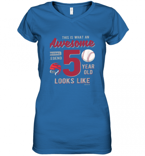 56jp kids 5th birthday gift awesome 5 year old baseball legend women v neck t shirt 39 front royal
