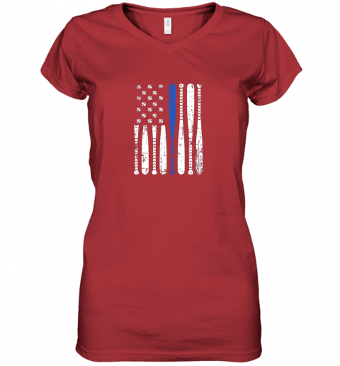 5mir thin blue line leo usa flag police support baseball bat women v neck t shirt 39 front red
